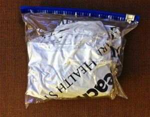 Mylar blanket in a Ziplock bag