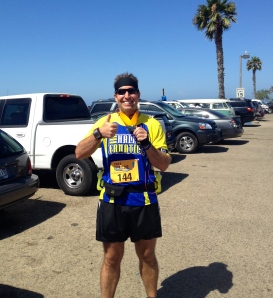Catching rays at the Shoreline Half Marathon.