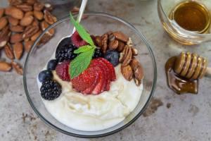 Greeking out the yogurt.